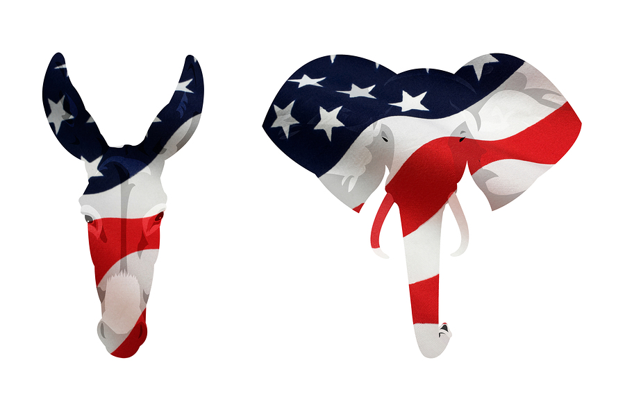 American Democrat Donkey And Republican Elephant Symbol Eldercare